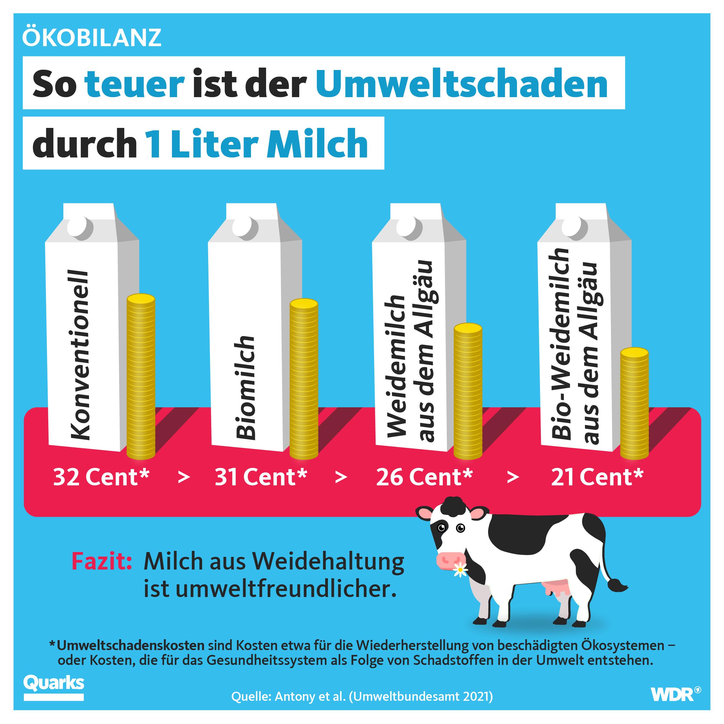 So teuer ist der Umweltschaden durch 1 Liter Milch