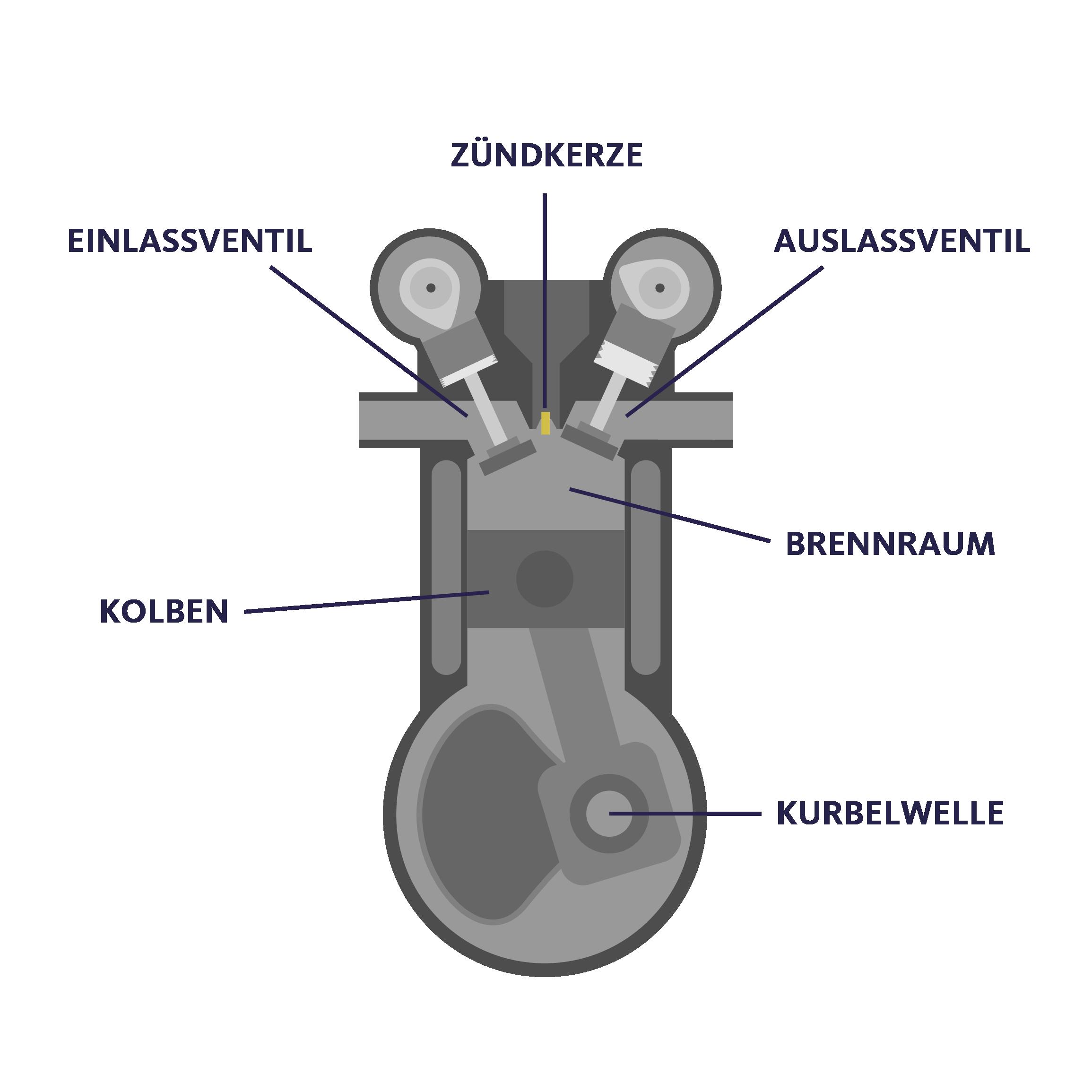 Schematische Darstellung eines Zylinders im Motor.