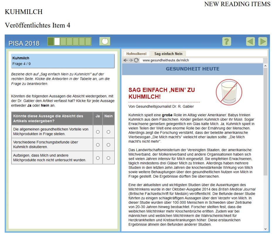 PISA Beispielaufgabe Leseverständnis