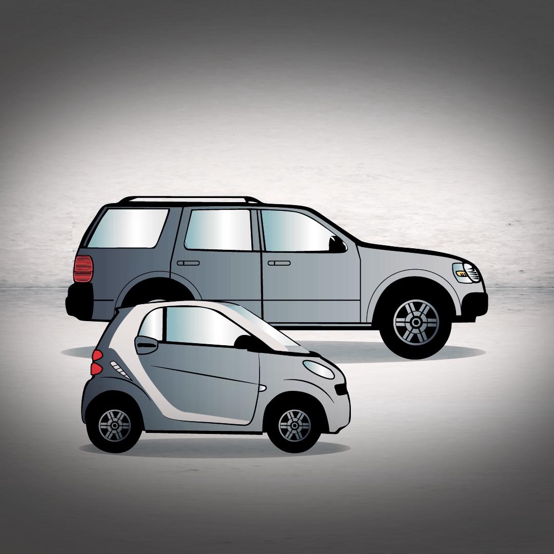 Grafik mit einem SUV und einem Smart