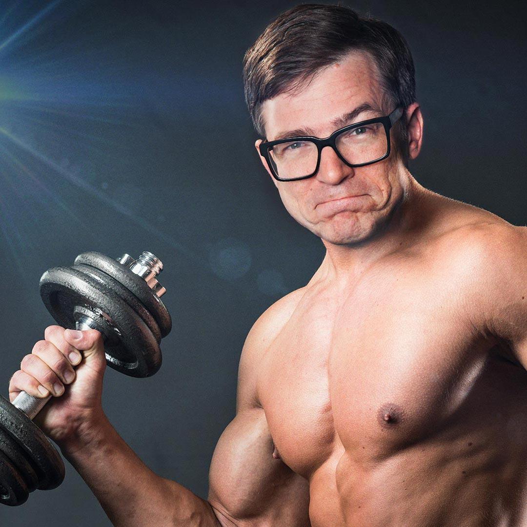 Montage: Ralph Caspers im Körper eines Bodybuilders