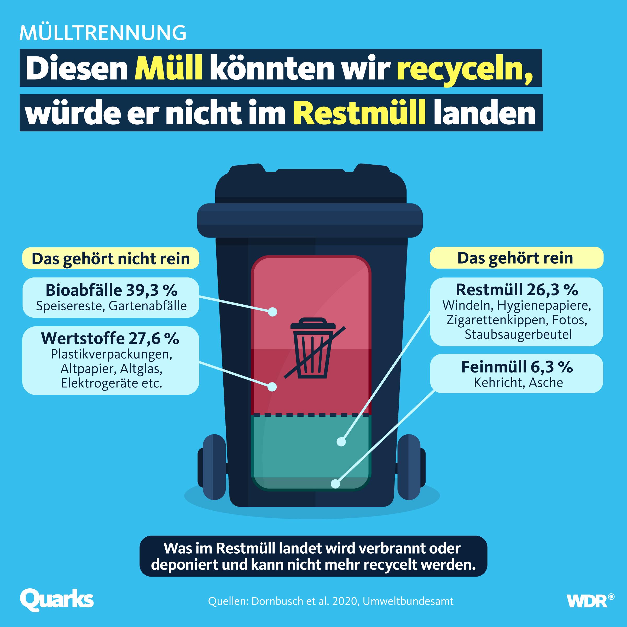 Diesen Müll könnten wir recyclen, würde er nicht im Restmüll landen