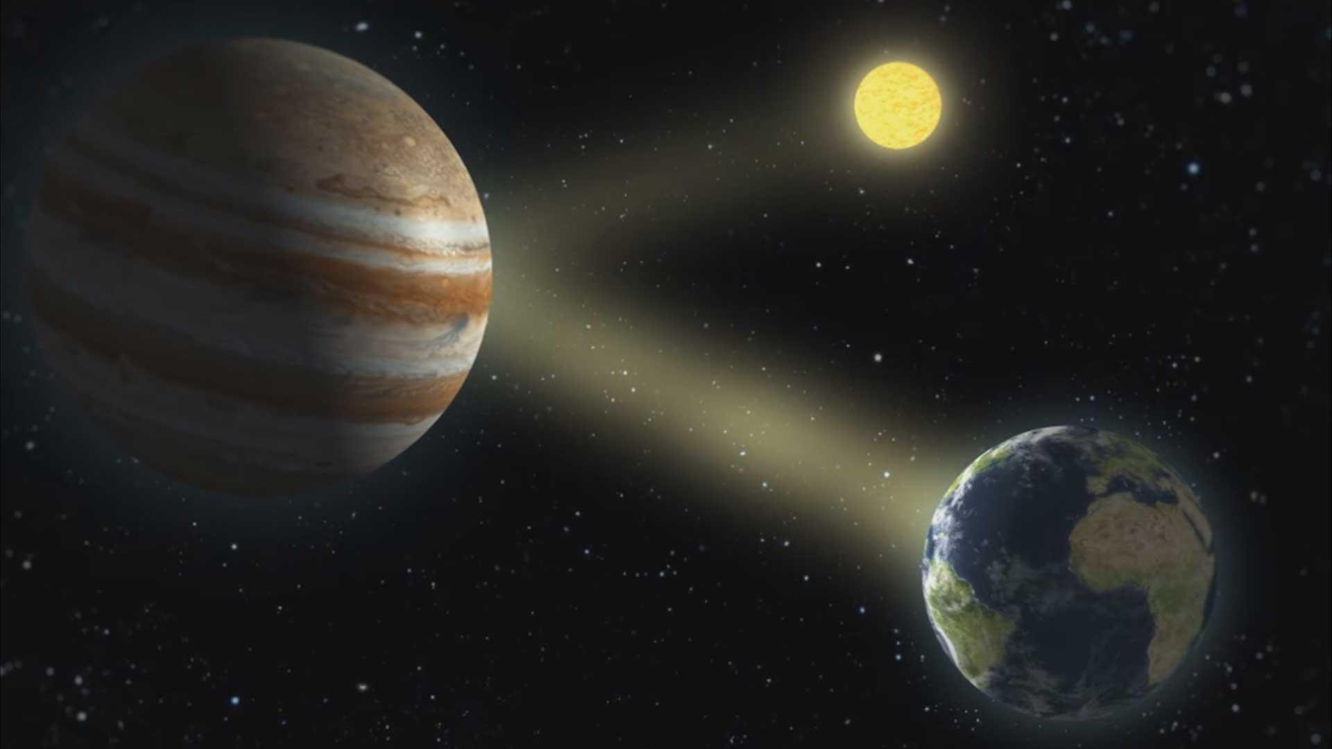 Sonne, Jupiter und Erde im Dreigestirn.