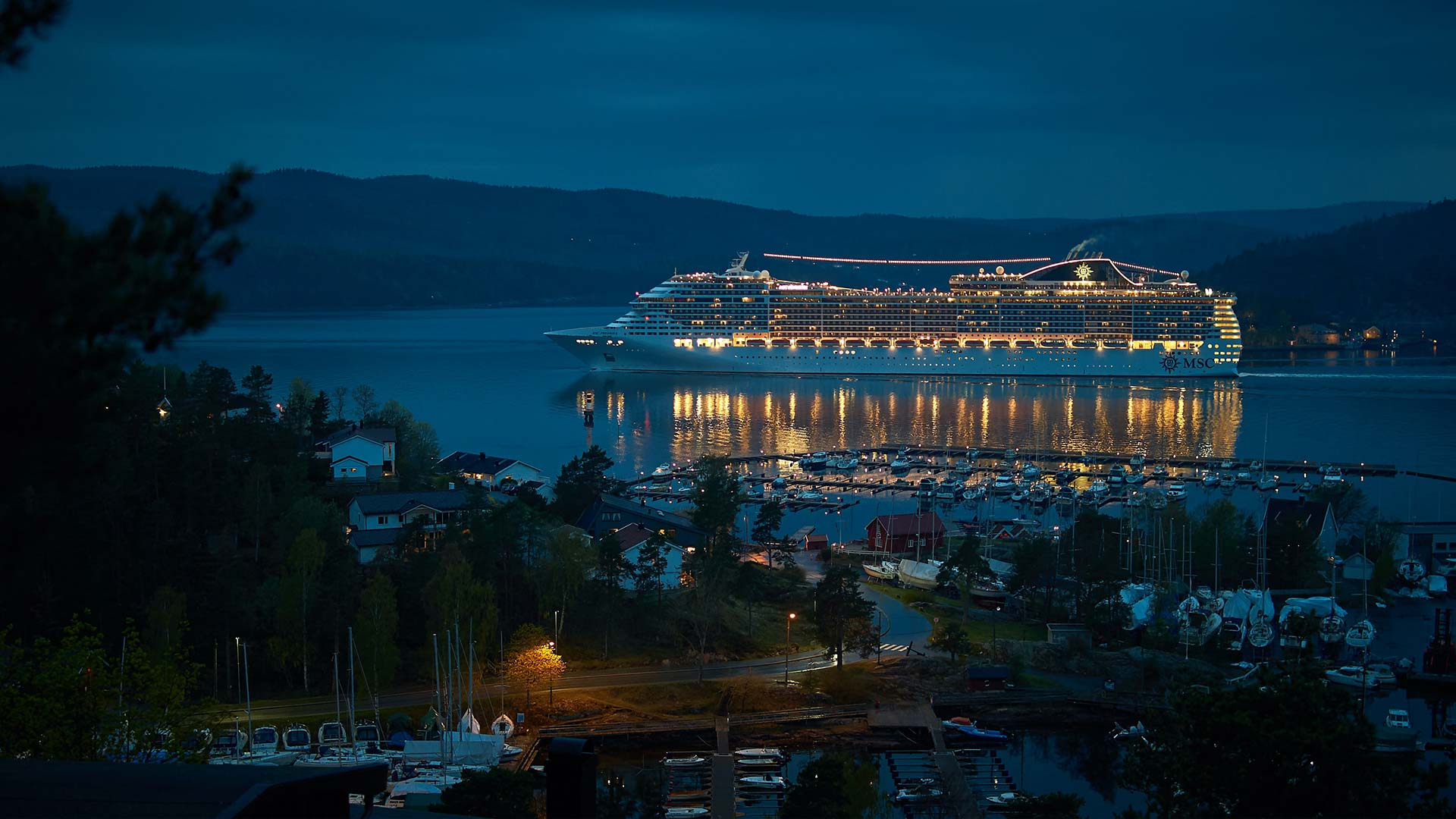 Kreuzfahrtschiff in einem Fjord