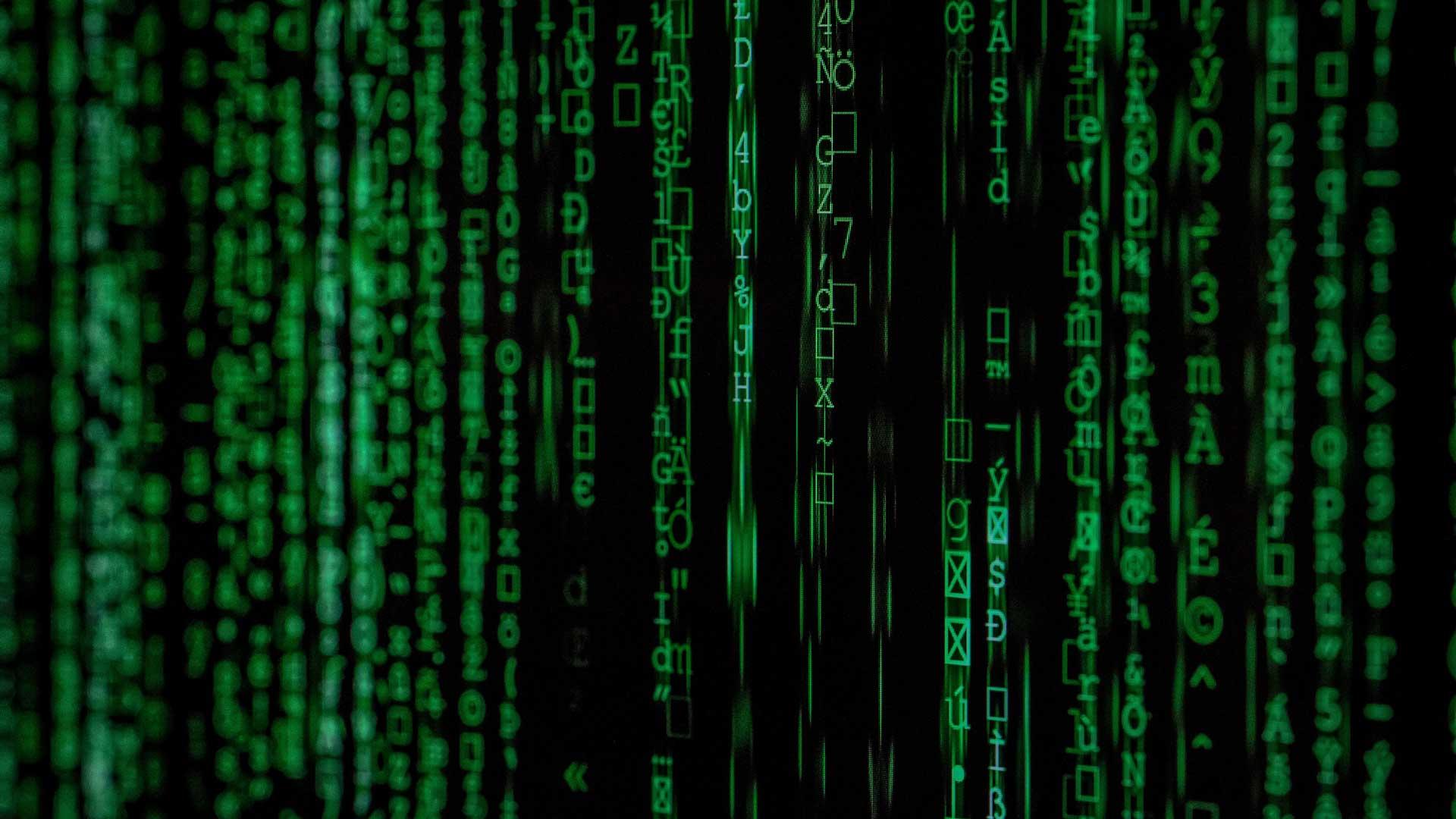 Grüne Buchstaben laufen über Computerbildschirm.