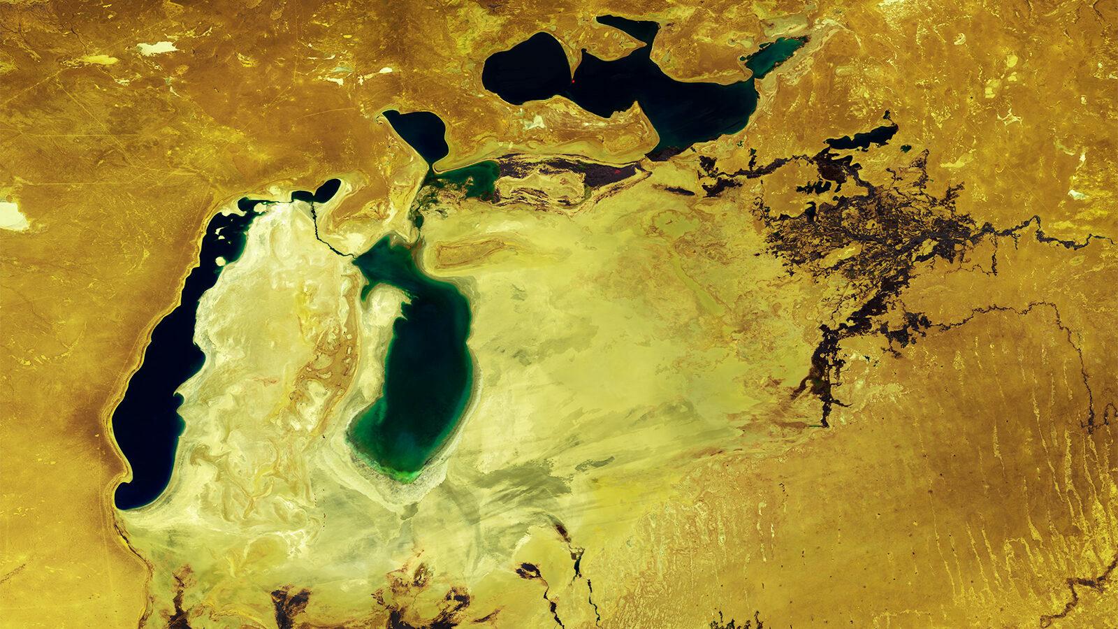 Der Aralsee im Jahr 2019. Der allergößte Teil des Sees ist ausgetrocknet | Foto: ESA/Belspo