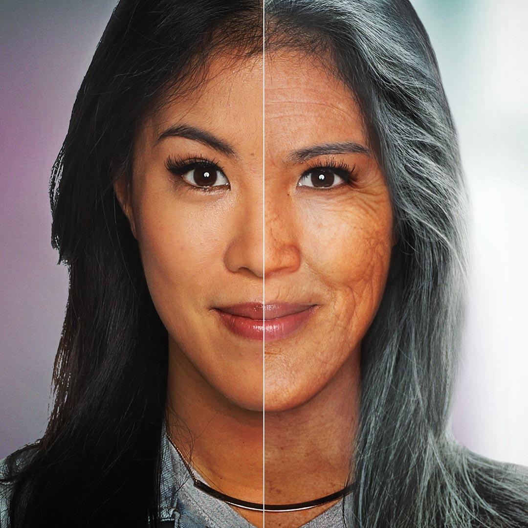 Montage: Mai Thi Nguyen-Kim - links jung, rechts gealtert