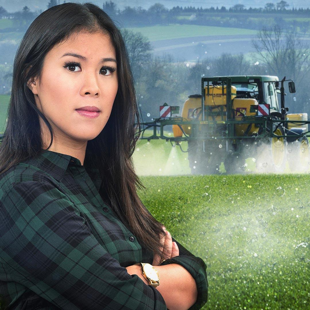 Montage: Mai Thi Nguyen-Kim vor einem Traktor, der Pestizide ausbringt