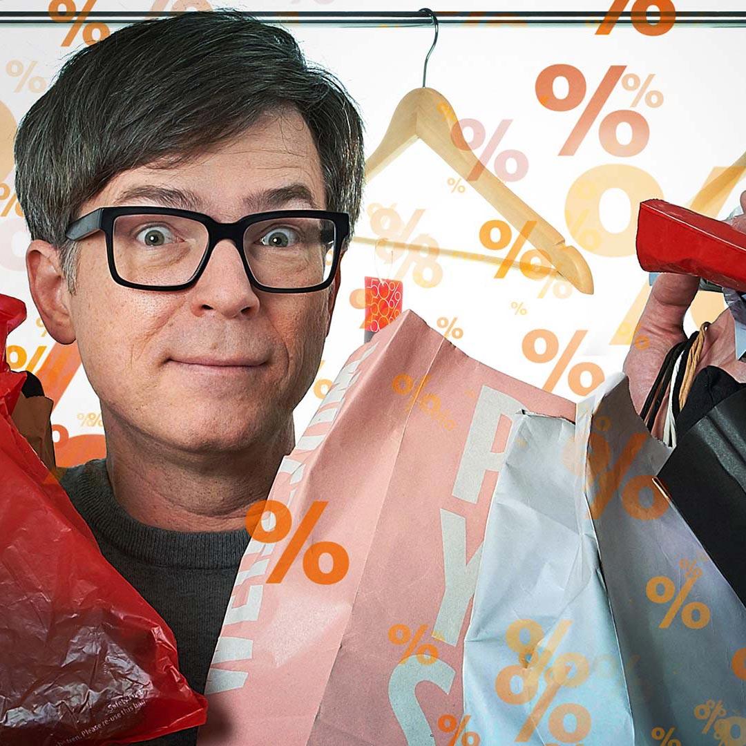 Ralph Caspers mit Einkaufstüten