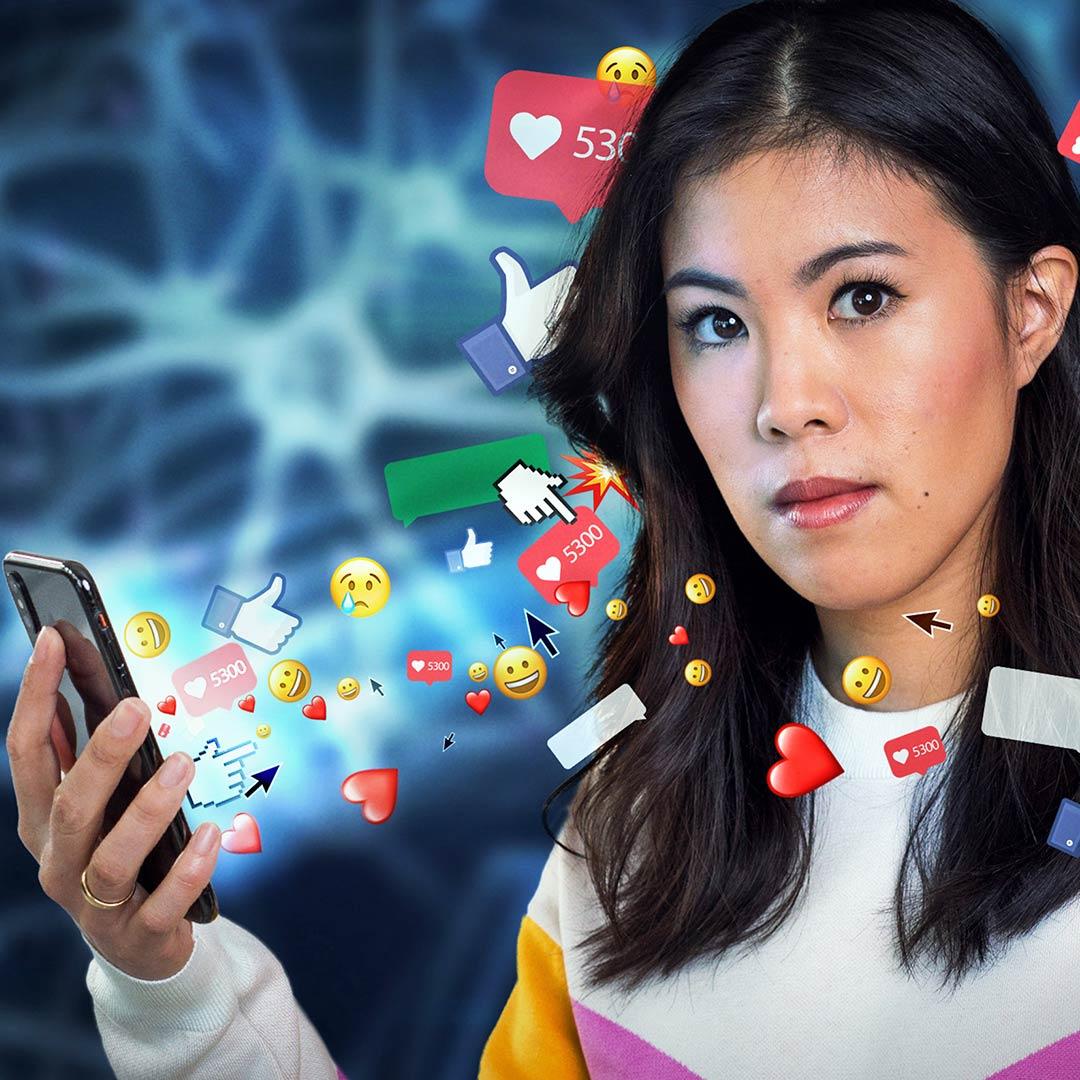 Mai Thi Nguyen-Kim mit ikonografischen Smartphone-Inhalten