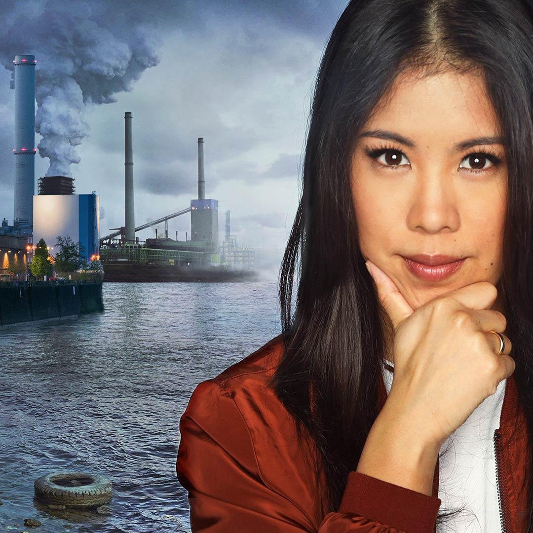 Montage: Mai Thi Nguyen-Kim vor verschmutztem Rhein