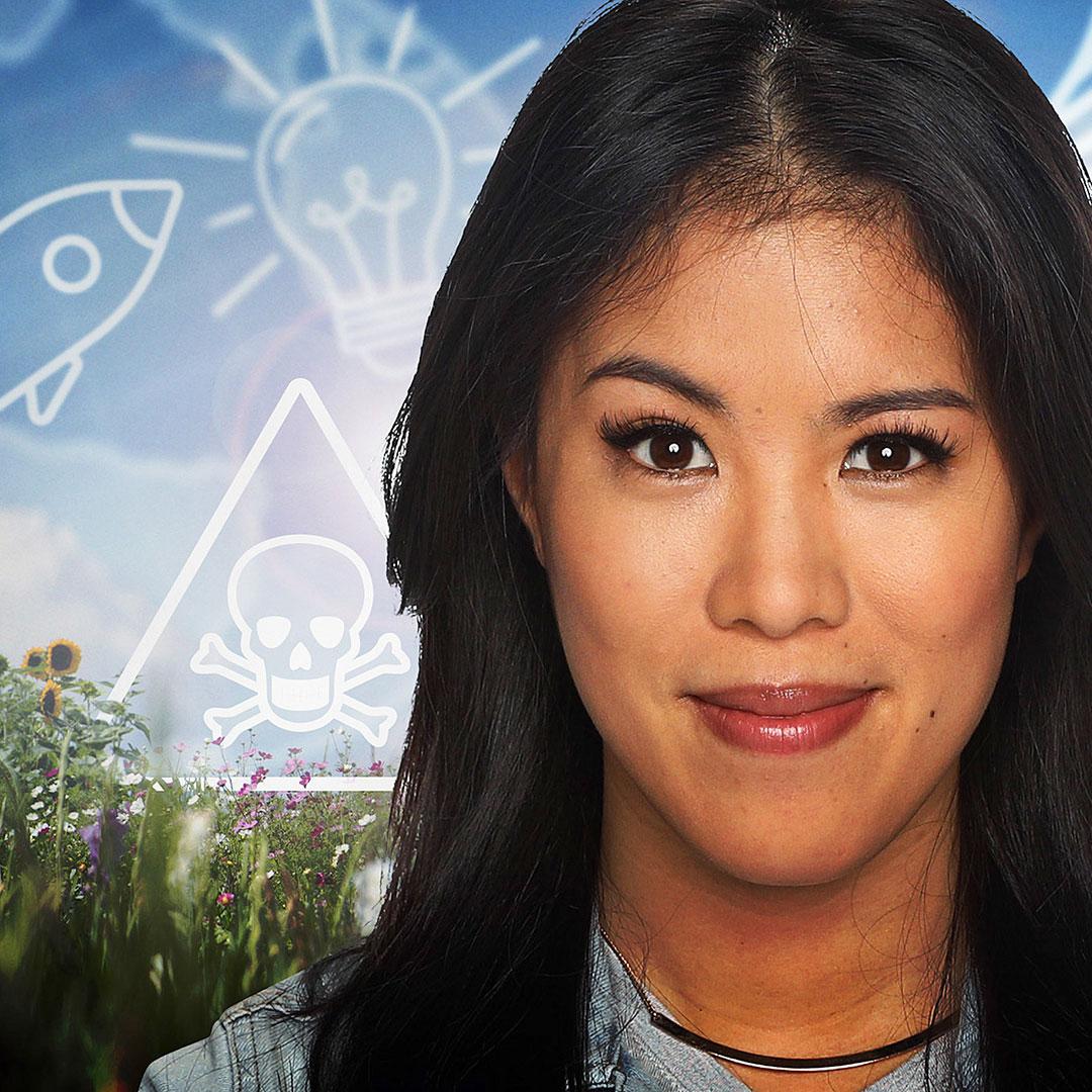Mai Thi Nguyen-Kim vor grafischen Bildelementen