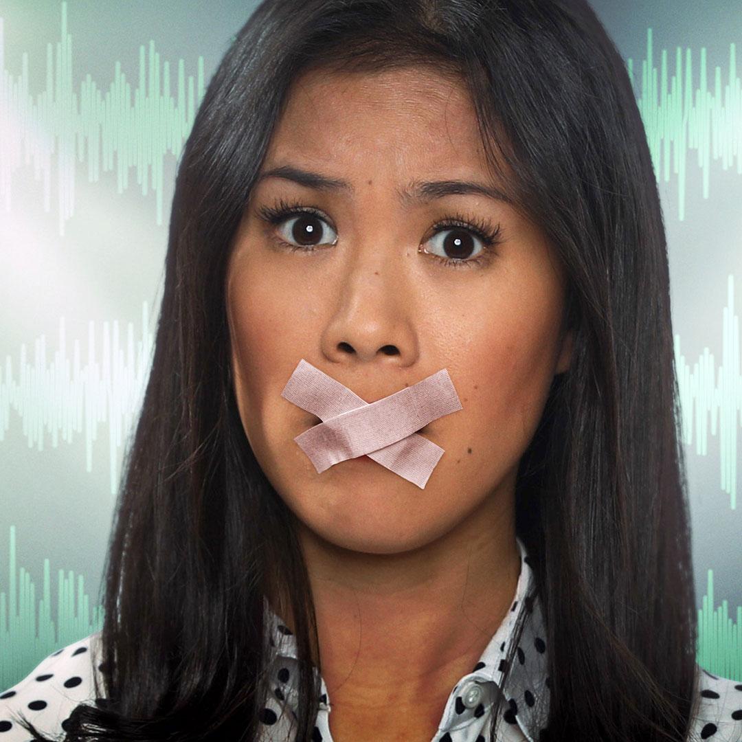 Mai Thi Nguyen-Kim mit zugeklebten Lippen