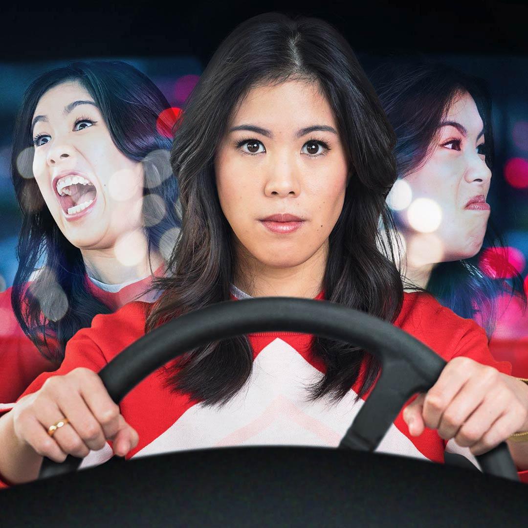 Mai Thi Nguyen-Kim hinterm Steuer - drei Gemütslagen