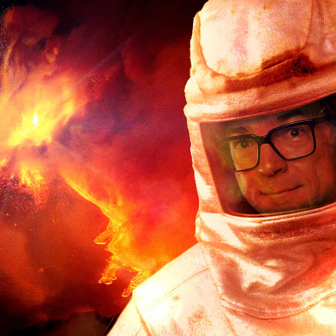 Montage: Ralph Caspers vor Vulkan
