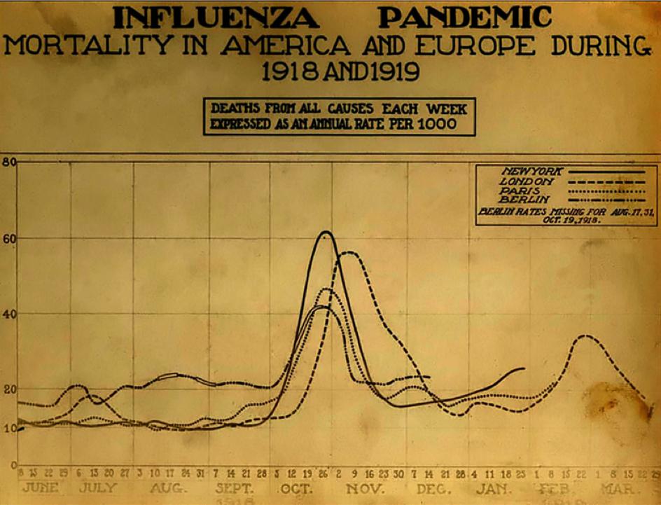 Verlauf der Spanischen Grippe in Kurven