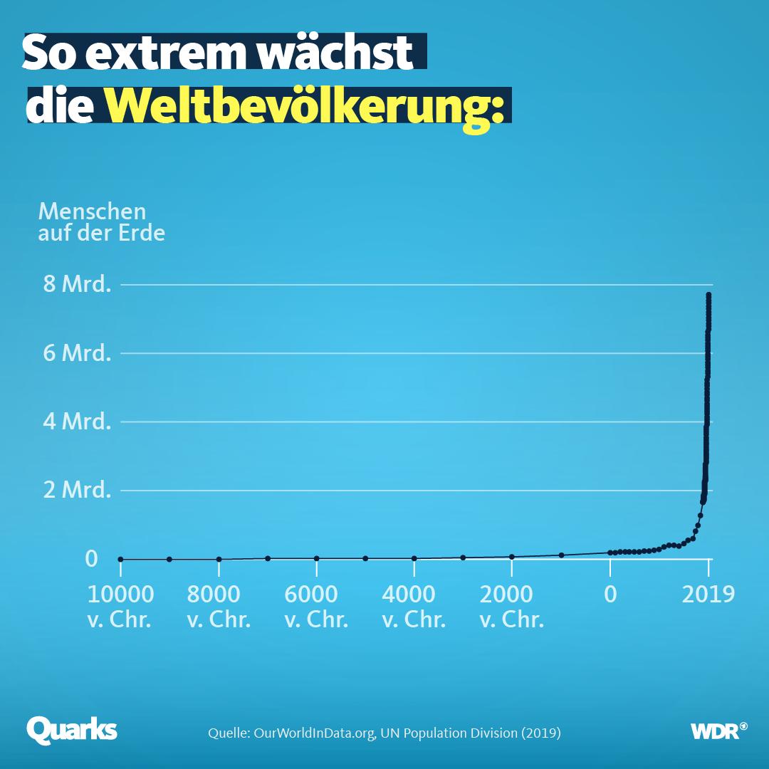 Anstieg der Bevölkerung von 10000 v. Chr. bis heute.