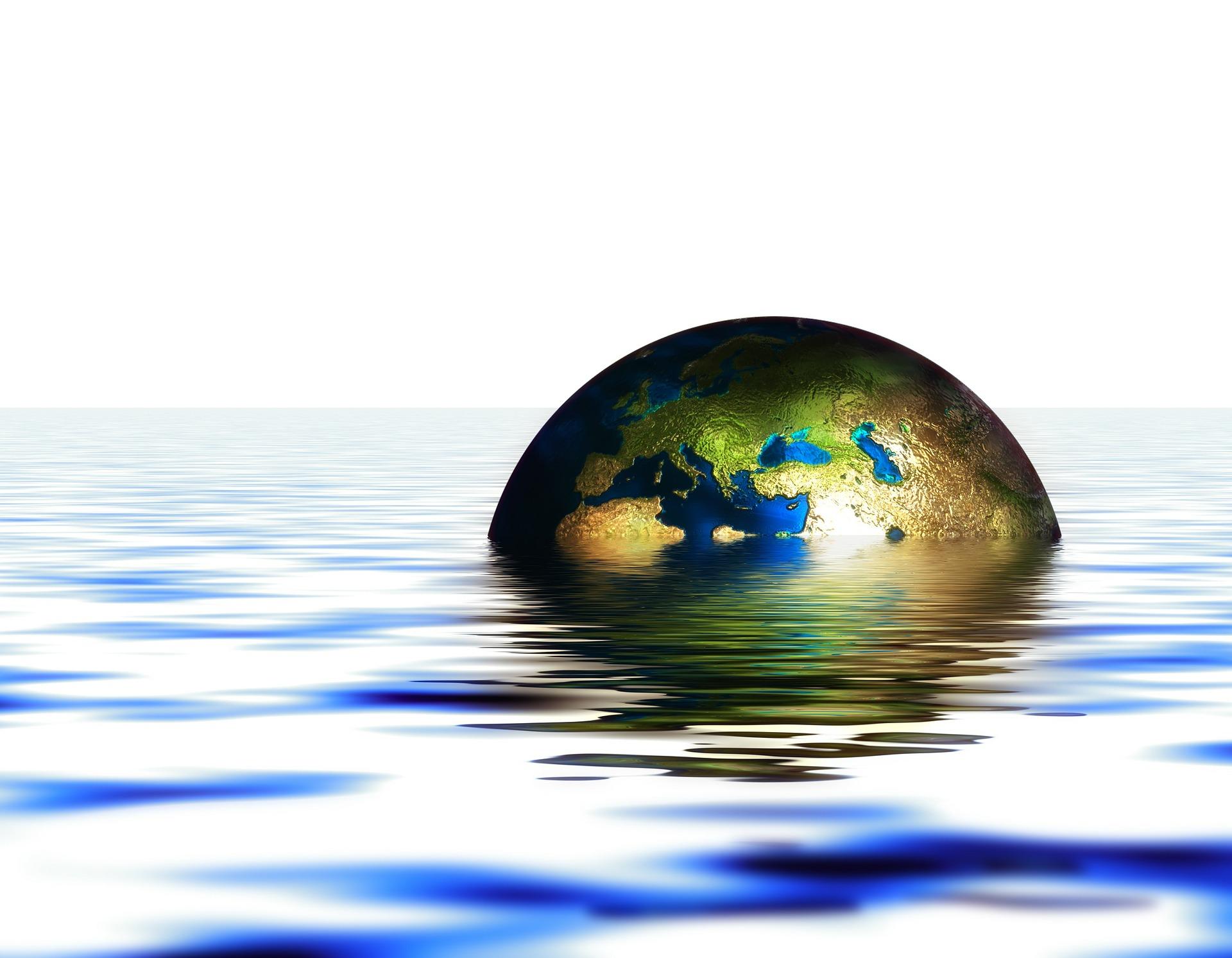 Grafische Darstellung Erdkugel liegt in Wasser.